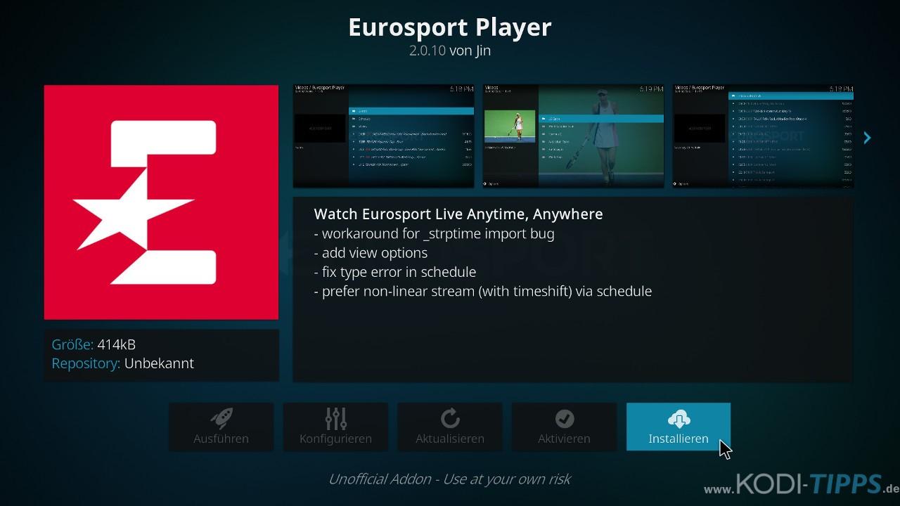 Eurosport Player Kodi Addon installieren - Schritt 6