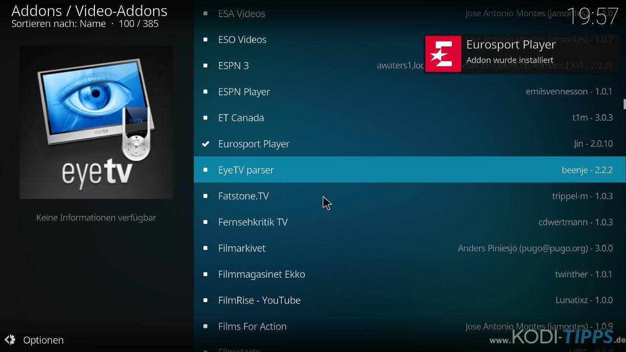 Eurosport Player Kodi Addon installieren - Schritt 7