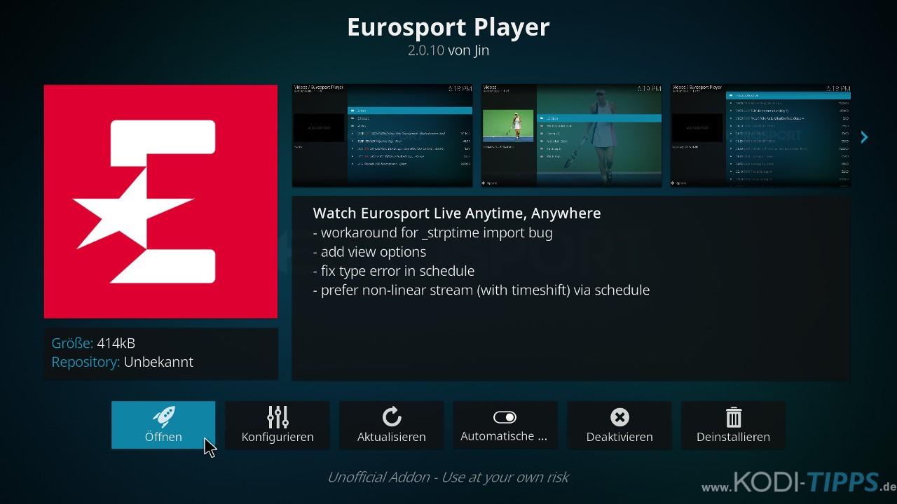 Eurosport Player Kodi Addon installieren - Schritt 8