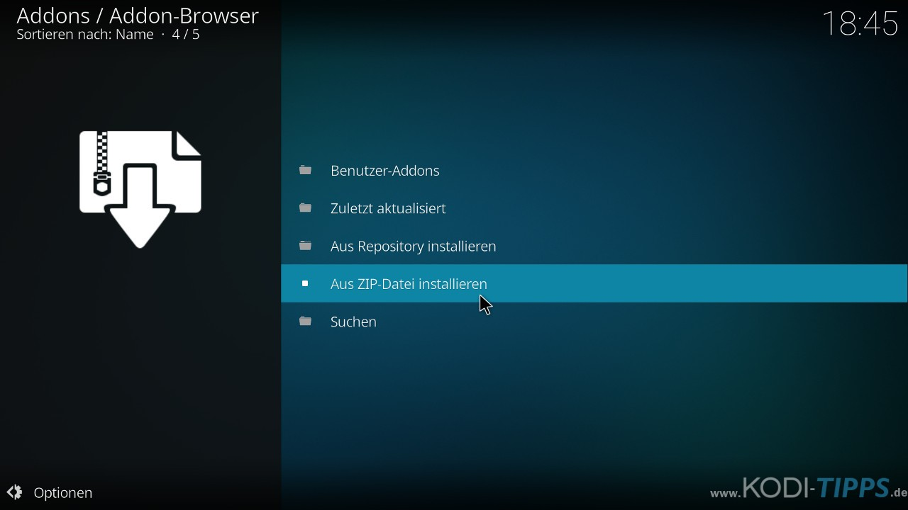 Kodi Addons aus ZIP-Datei installieren