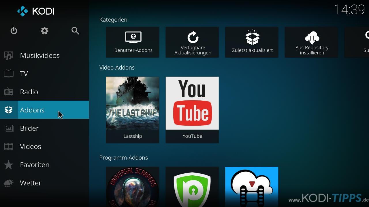 Bucky Movies Kodi Addon herunterladen & installieren - Schritt 1
