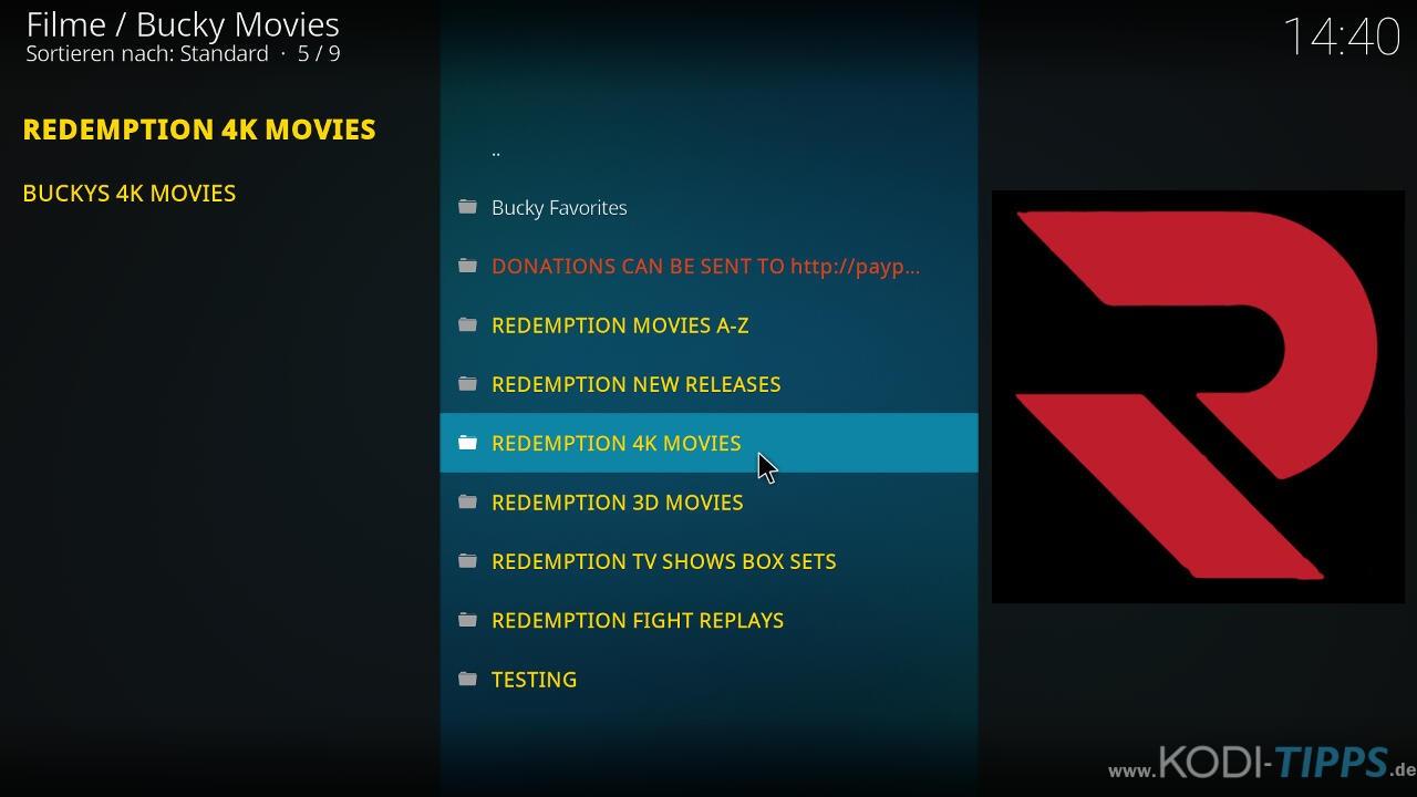Bucky Movies Kodi Addon herunterladen & installieren - Schritt 10