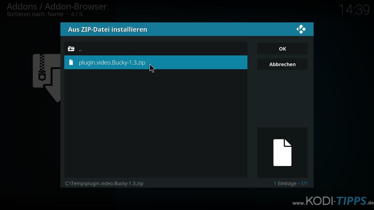 Bucky Movies Kodi Addon herunterladen & installieren - Schritt 4