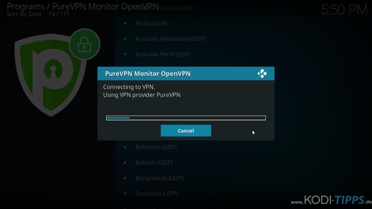 PureVPN Kodi Addon installieren & einrichten - Schritt 12