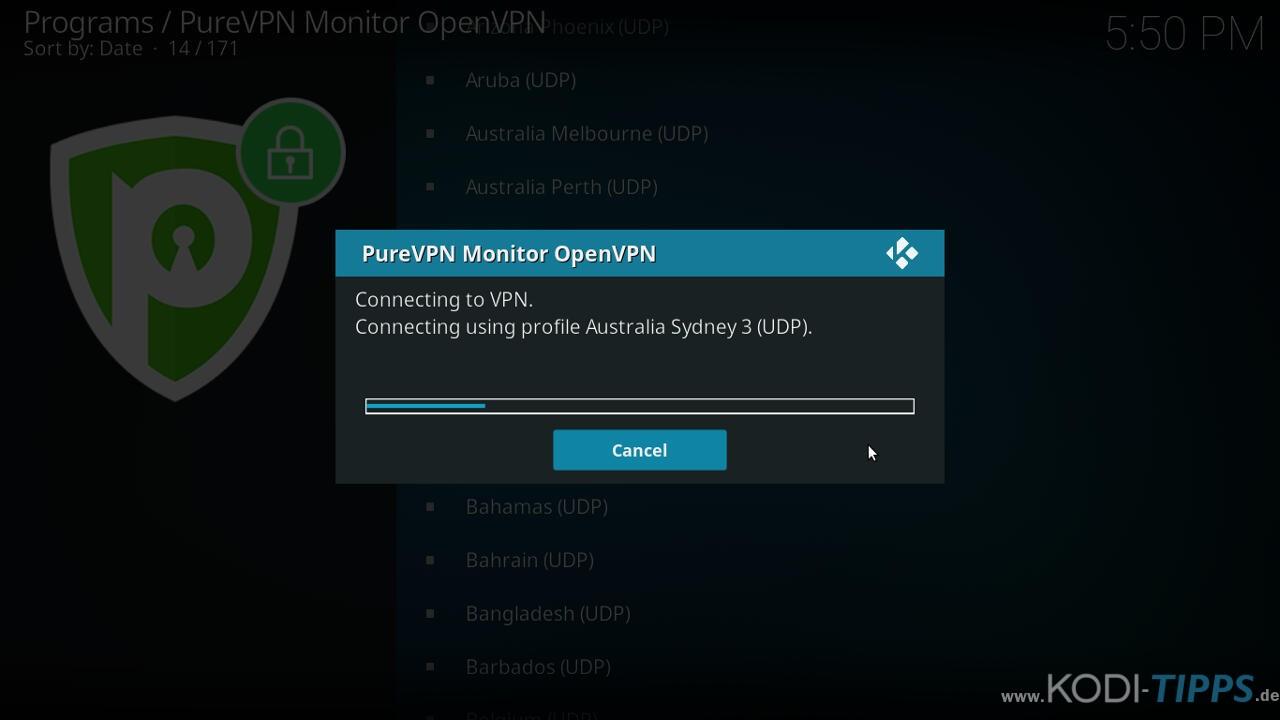 PureVPN Kodi Addon installieren & einrichten - Schritt 13