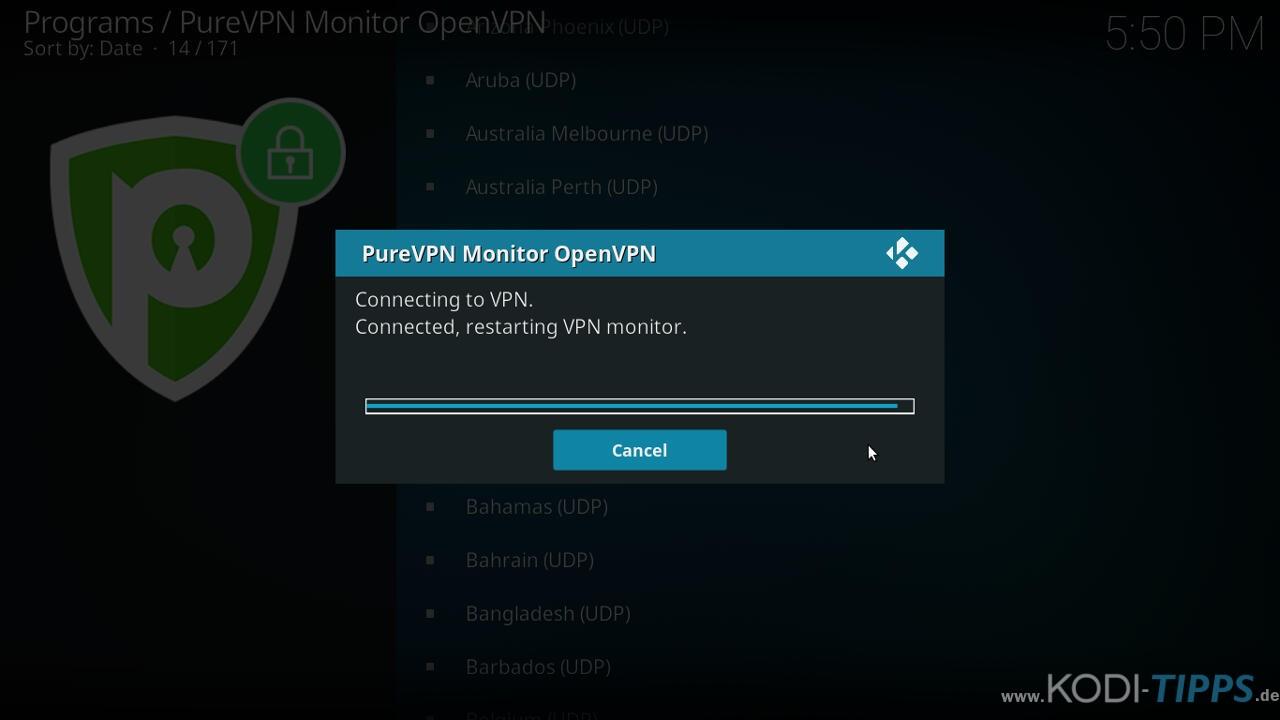 PureVPN Kodi Addon installieren & einrichten - Schritt 14