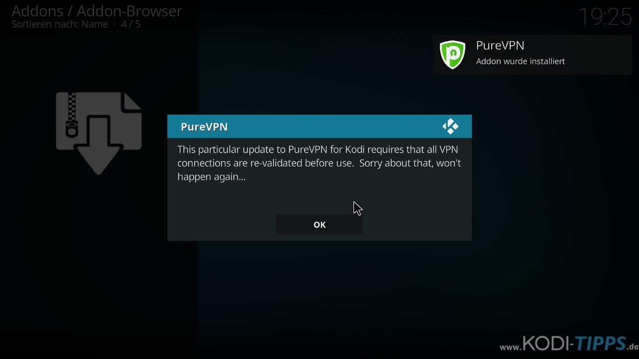 PureVPN Kodi Addon installieren & einrichten - Schritt 4