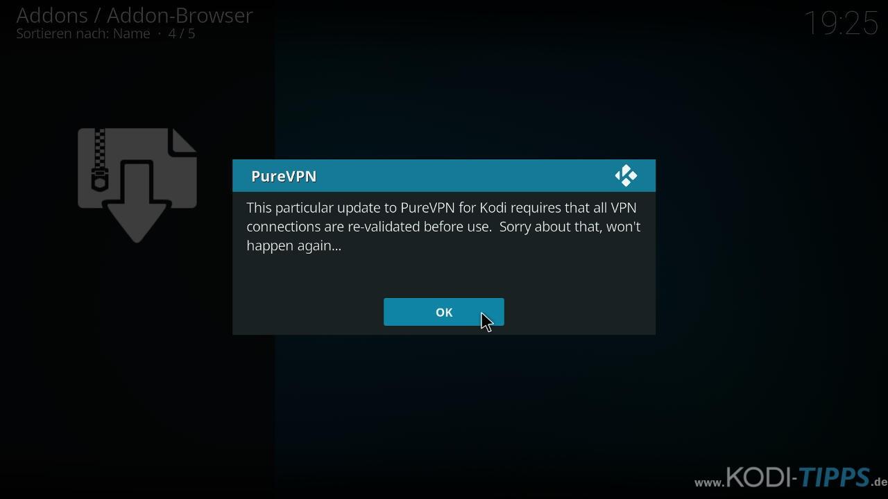 PureVPN Kodi Addon installieren & einrichten - Schritt 5