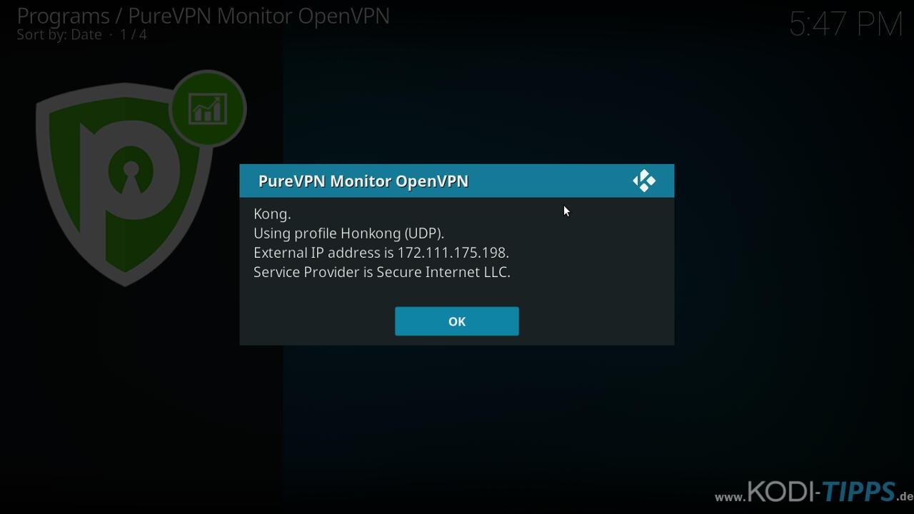PureVPN Kodi Addon installieren & einrichten - Schritt 9
