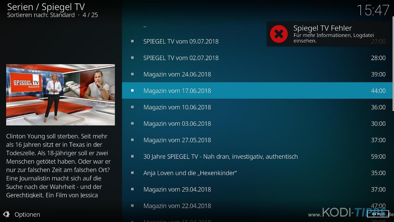 SPIEGEL TV Kodi Addon Fehler beheben - Bild 1