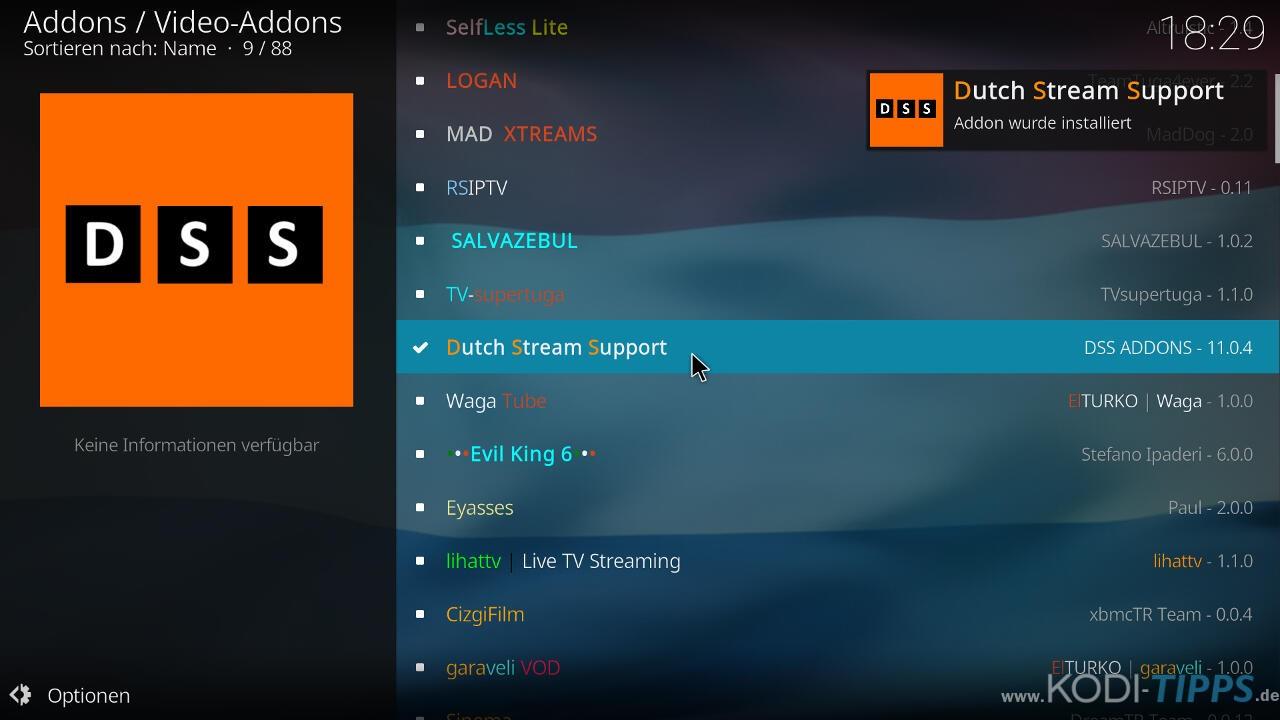 Dutch Sport Streams Kodi Addon (DSS) installieren - Schritt 9