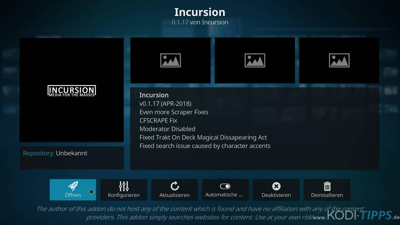 Incursion Kodi Addon herunterladen & installieren - Schritt 10