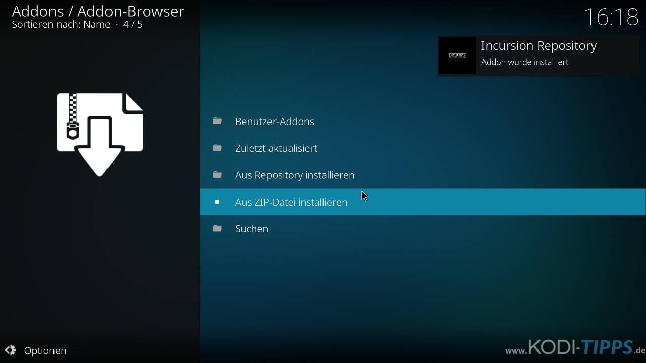 Incursion Kodi Addon herunterladen & installieren - Schritt 3
