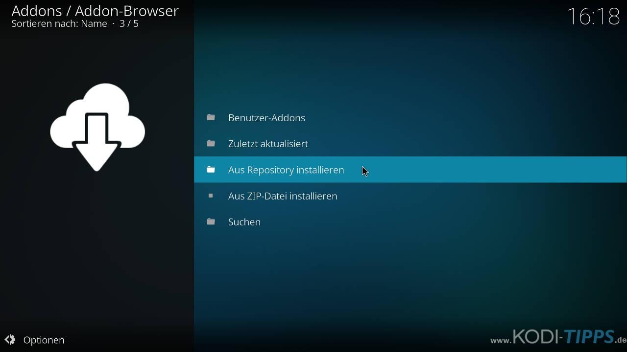 Incursion Kodi Addon herunterladen & installieren - Schritt 4