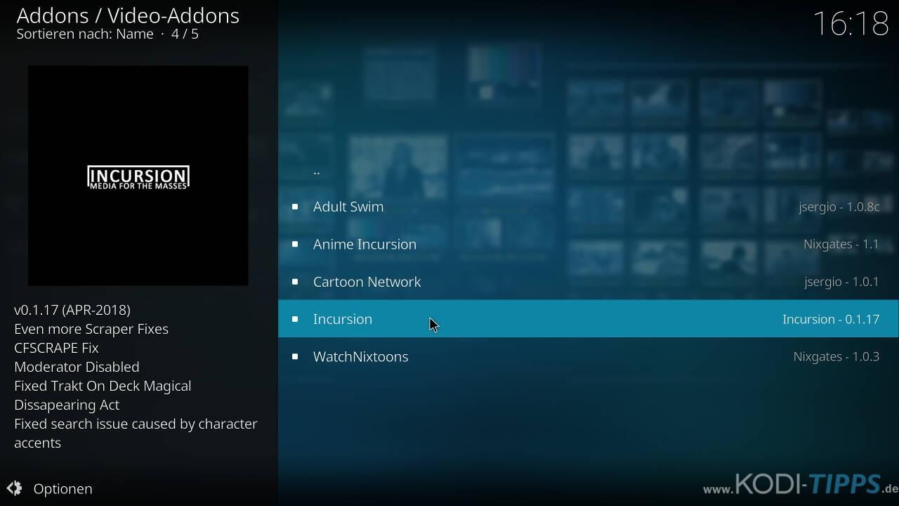 Incursion Kodi Addon herunterladen & installieren - Schritt 7