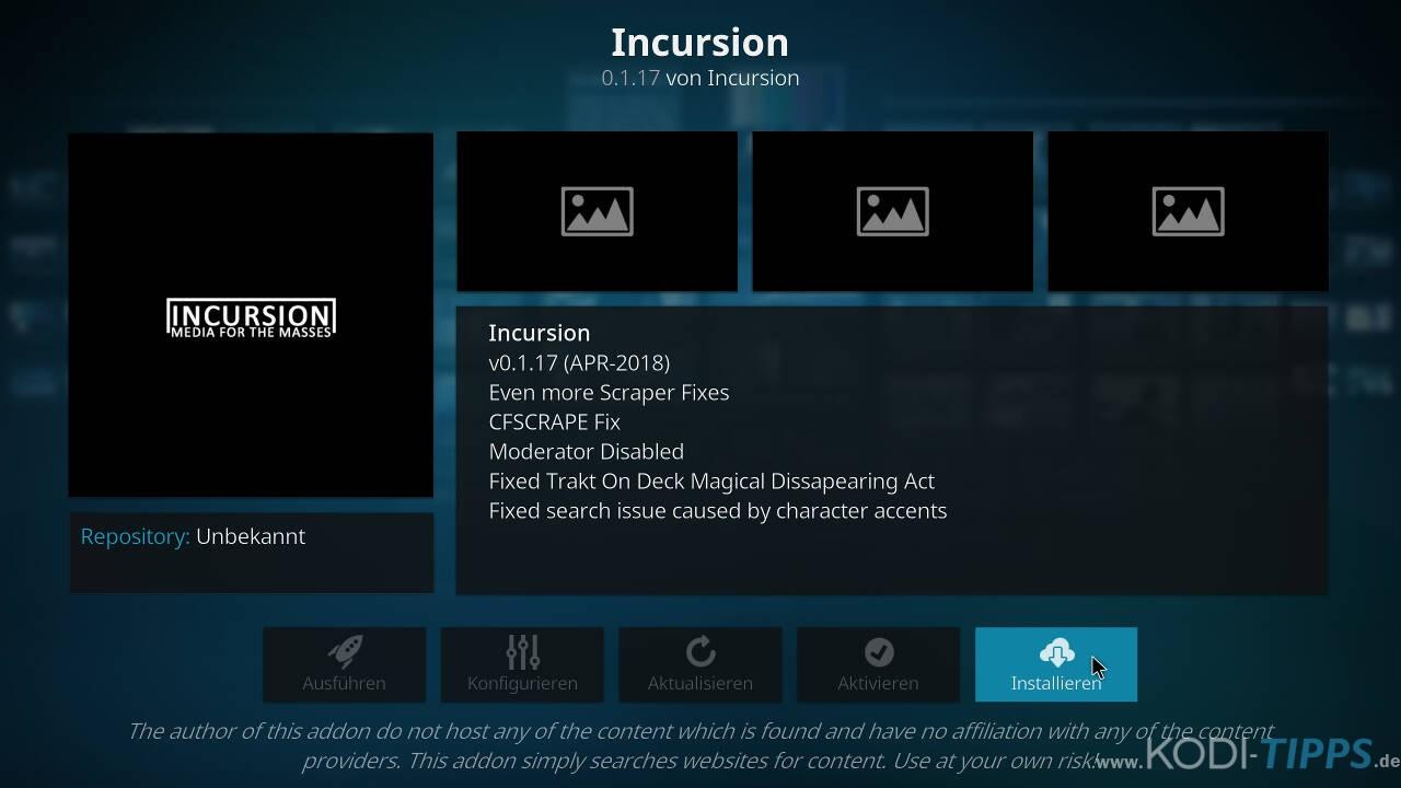 Incursion Kodi Addon herunterladen & installieren - Schritt 8