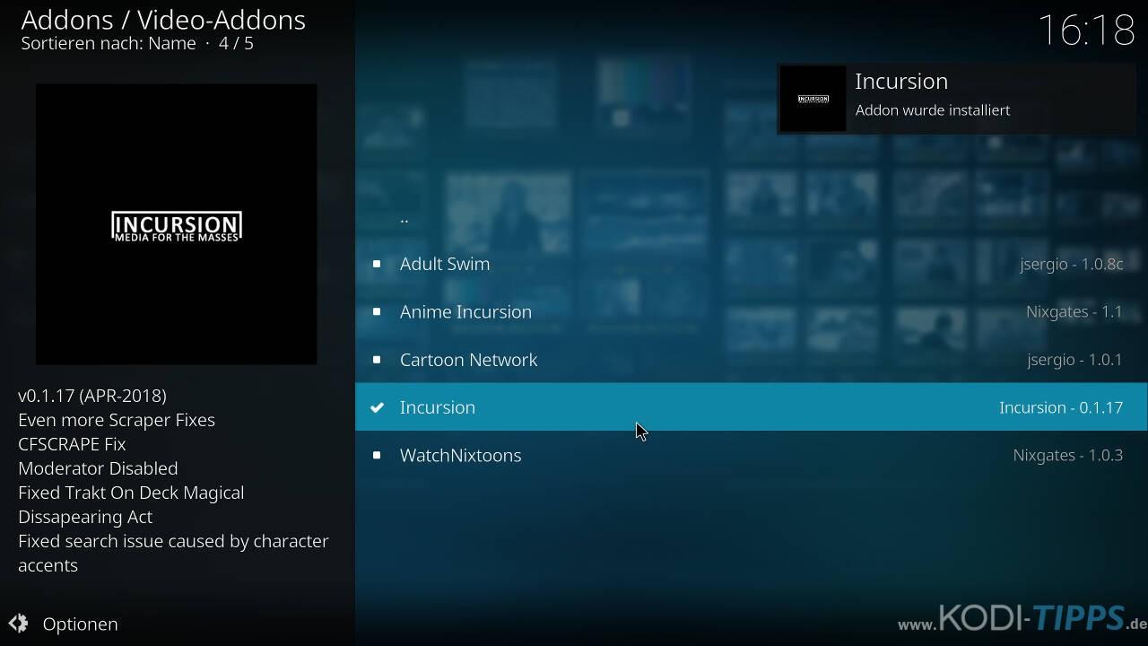 Incursion Kodi Addon herunterladen & installieren - Schritt 9