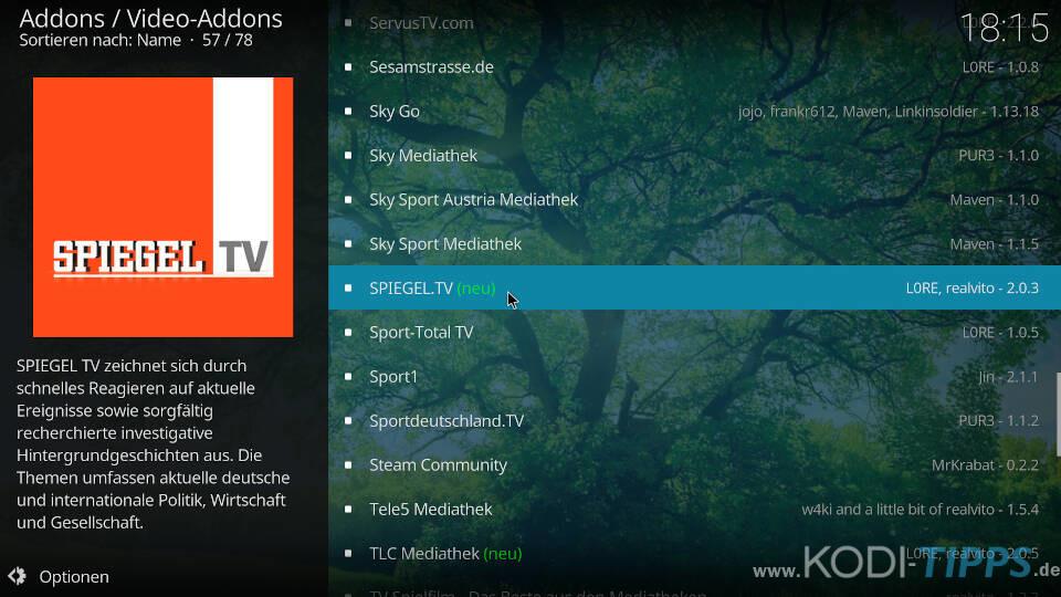 SPIEGEL TV Kodi Addon installieren - Schritt 2
