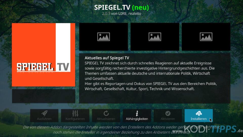 SPIEGEL TV Kodi Addon installieren - Schritt 3