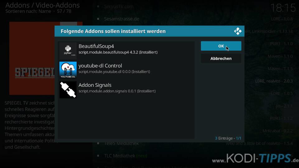 SPIEGEL TV Kodi Addon installieren - Schritt 4