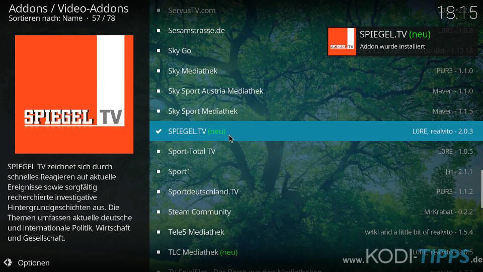 SPIEGEL TV Kodi Addon installieren - Schritt 5