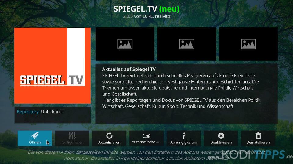 SPIEGEL TV Kodi Addon installieren - Schritt 6