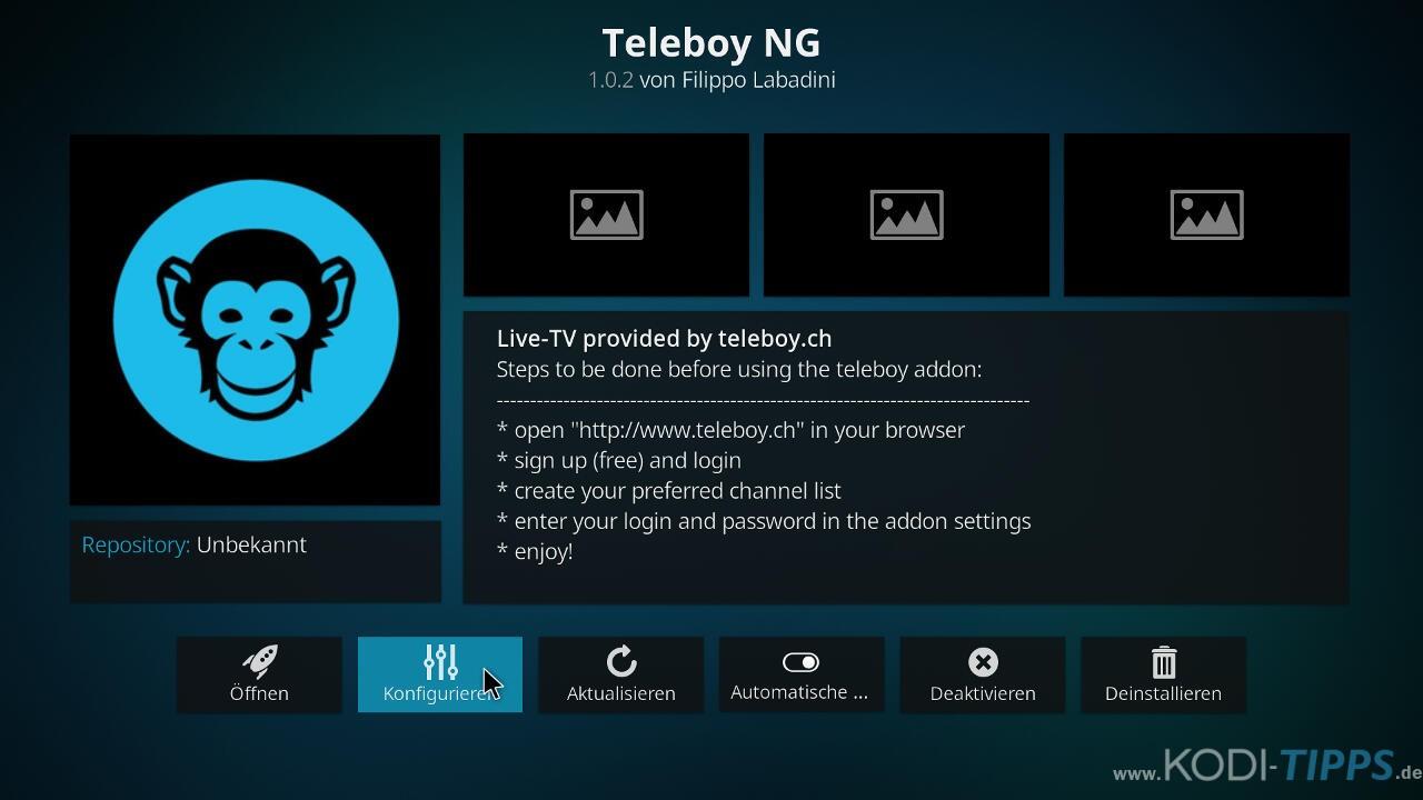 Teleboy Kodi Addon herunterladen & installieren - Schritt 11