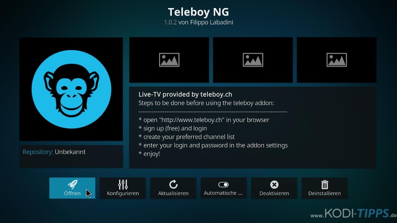 Teleboy Kodi Addon herunterladen & installieren - Schritt 13