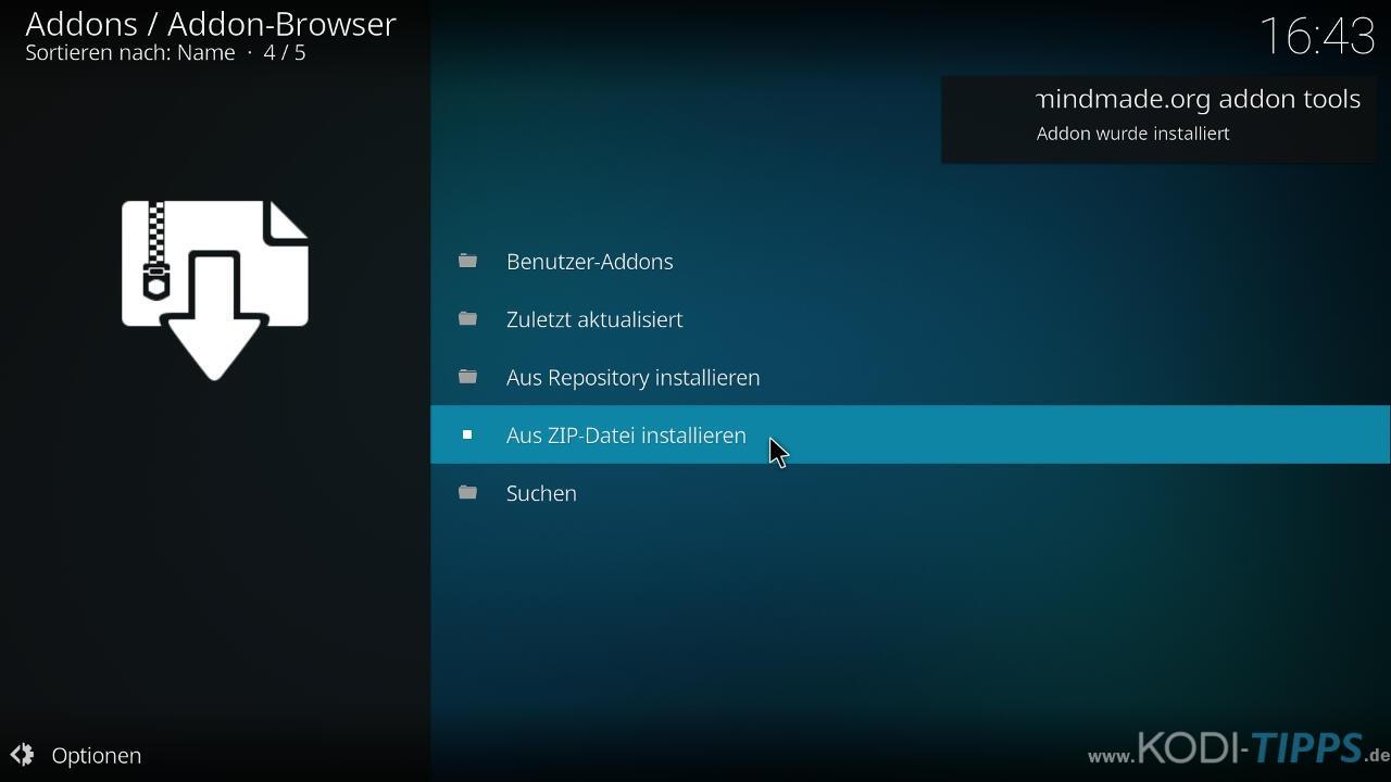 Teleboy Kodi Addon herunterladen & installieren - Schritt 5