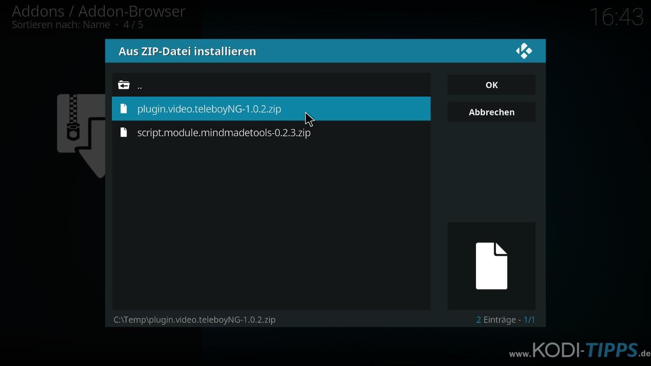 Teleboy Kodi Addon herunterladen & installieren - Schritt 6