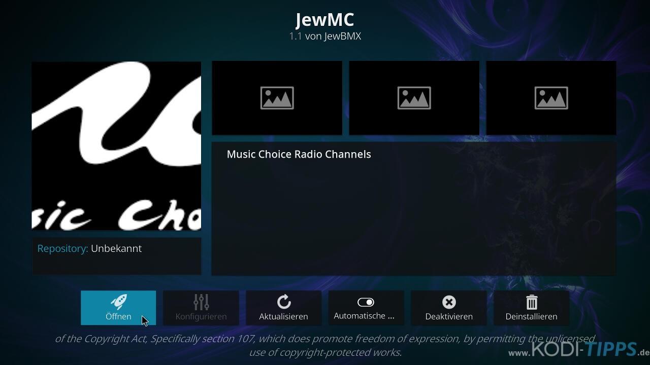 Music Choice Kodi Addon installieren - Schritt 10