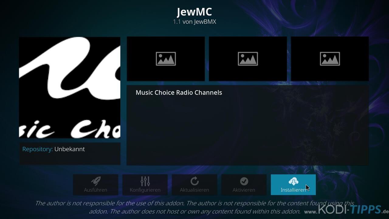 Music Choice Kodi Addon installieren - Schritt 8
