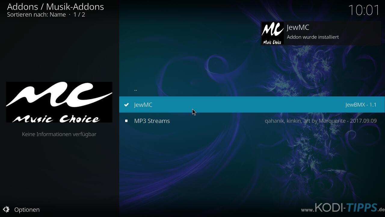 Music Choice Kodi Addon installieren - Schritt 9