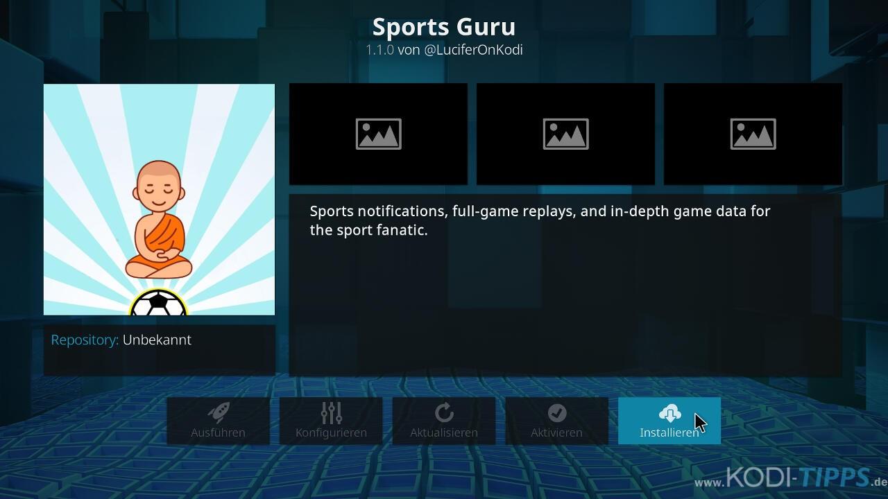 Sports Guru Kodi Addon installieren - Schritt 8