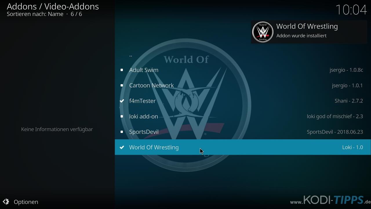 World of Wrestling Kodi Addon installieren - Schritt 9