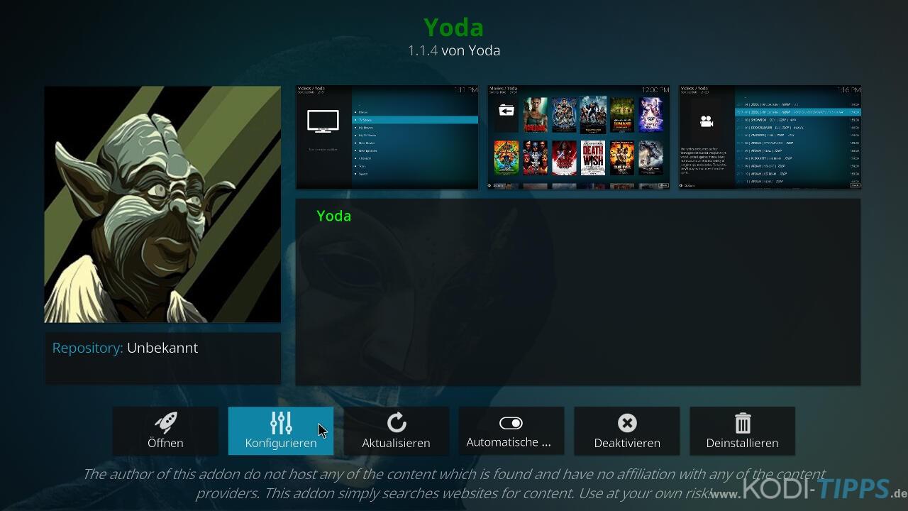 Yoda Kodi Addon installieren - Schritt 10