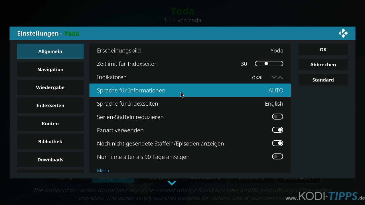 Yoda Kodi Addon installieren - Schritt 11