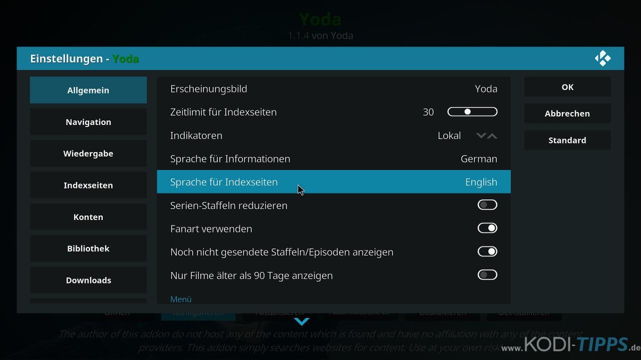 Yoda Kodi Addon installieren - Schritt 13