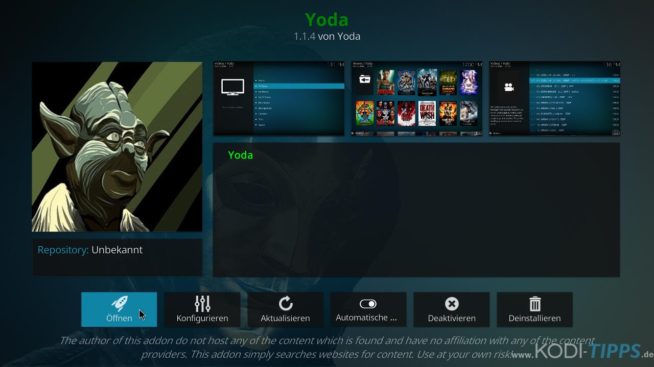 Yoda Kodi Addon installieren - Schritt 16
