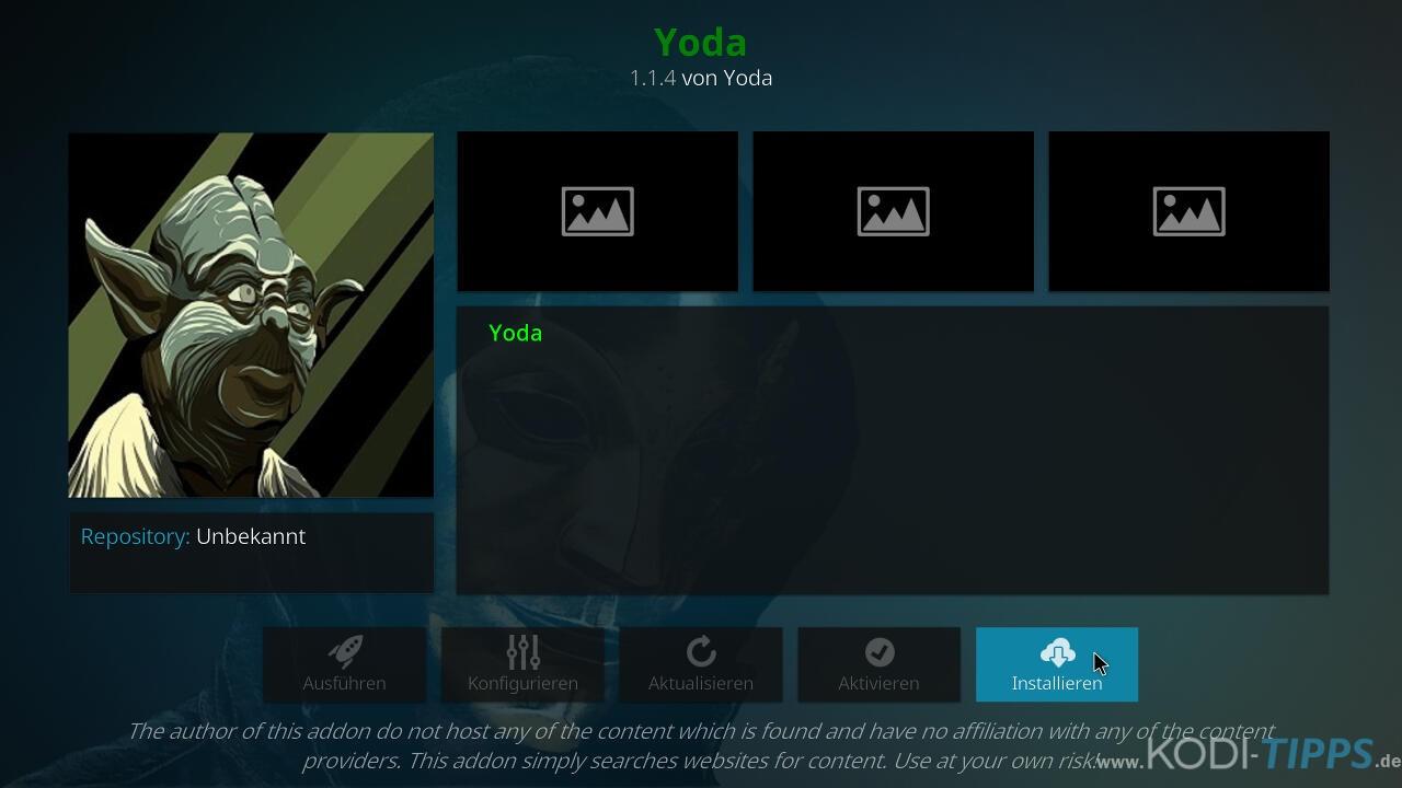 Yoda Kodi Addon installieren - Schritt 8