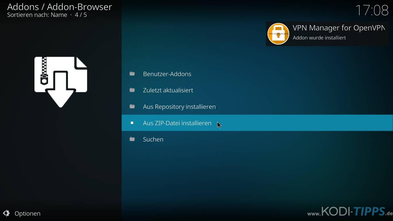 CyberGhost in Kodi installieren und einrichten - Schritt 3