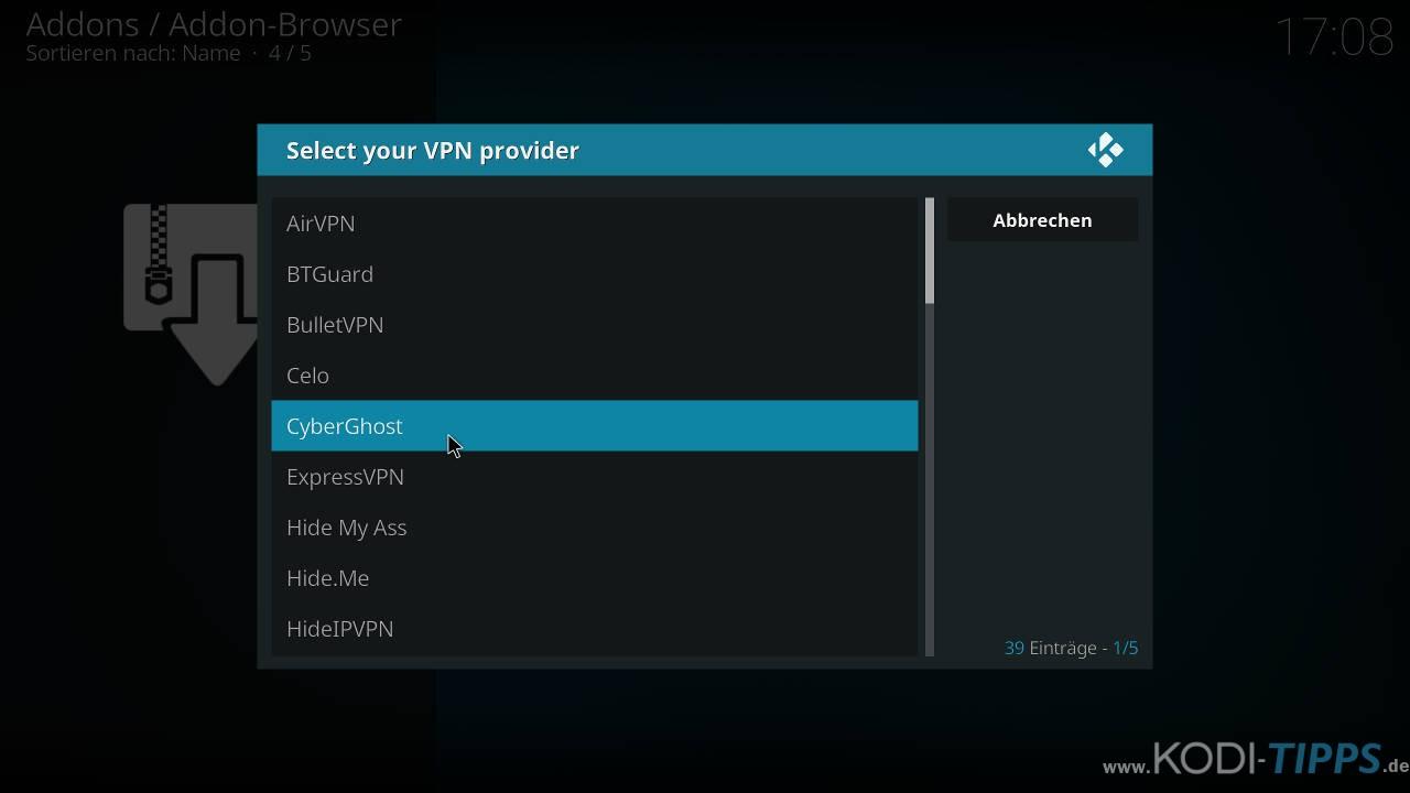 CyberGhost in Kodi installieren und einrichten - Schritt 7