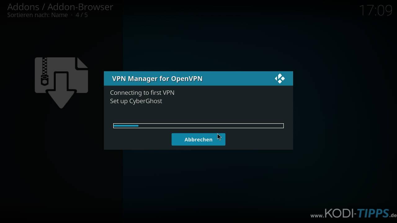 CyberGhost in Kodi installieren und einrichten - Schritt 14