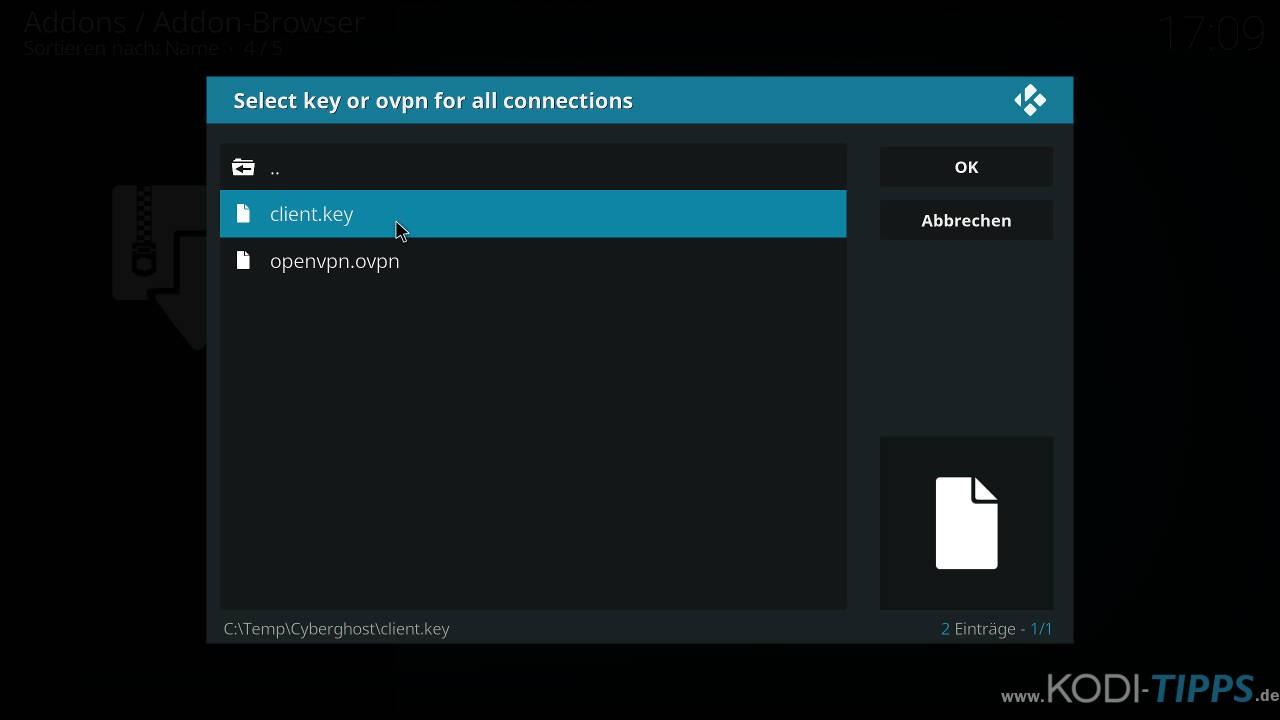 CyberGhost in Kodi installieren und einrichten - Schritt 19