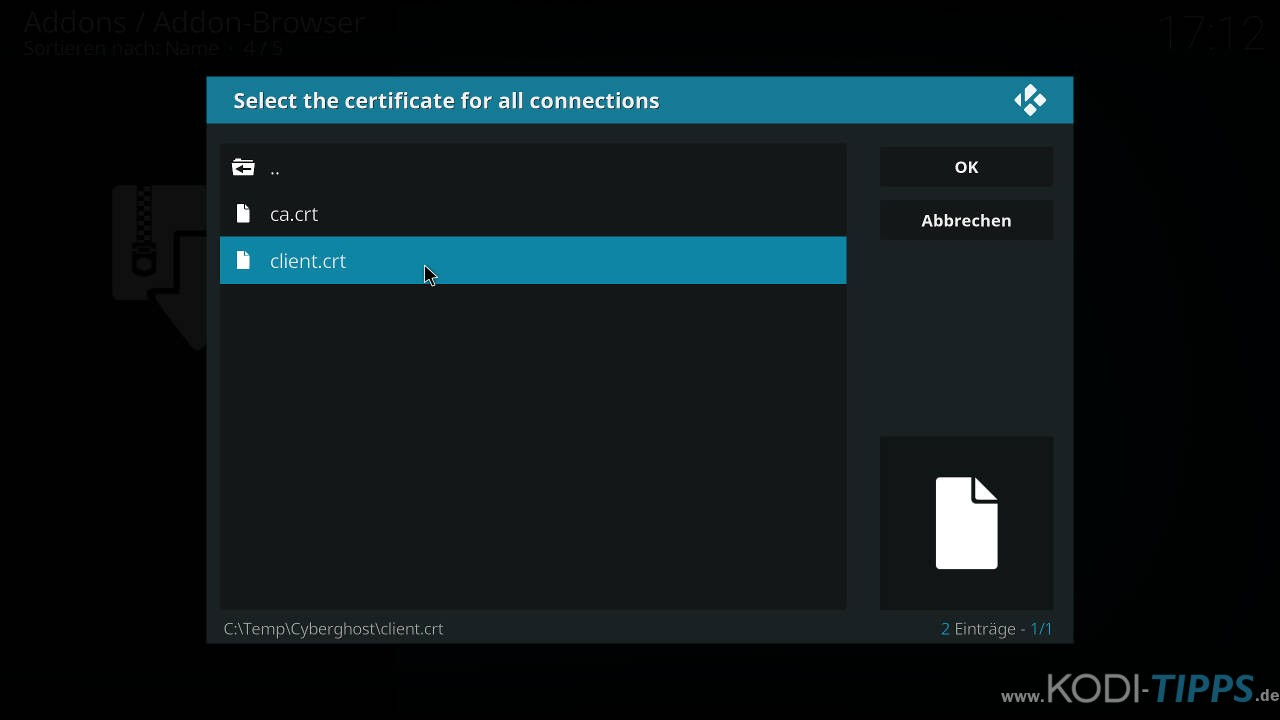 CyberGhost in Kodi installieren und einrichten - Schritt 20