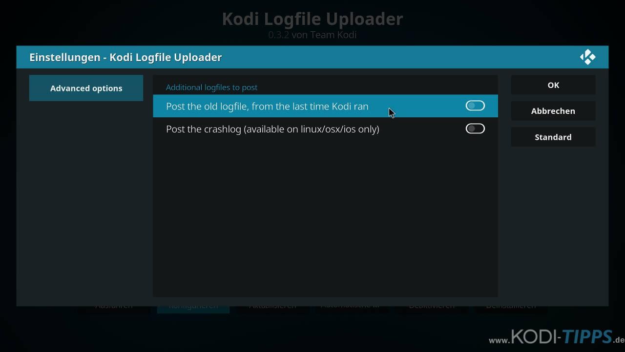 Kodi Logdateien hochladen und teilen - Schritt 6