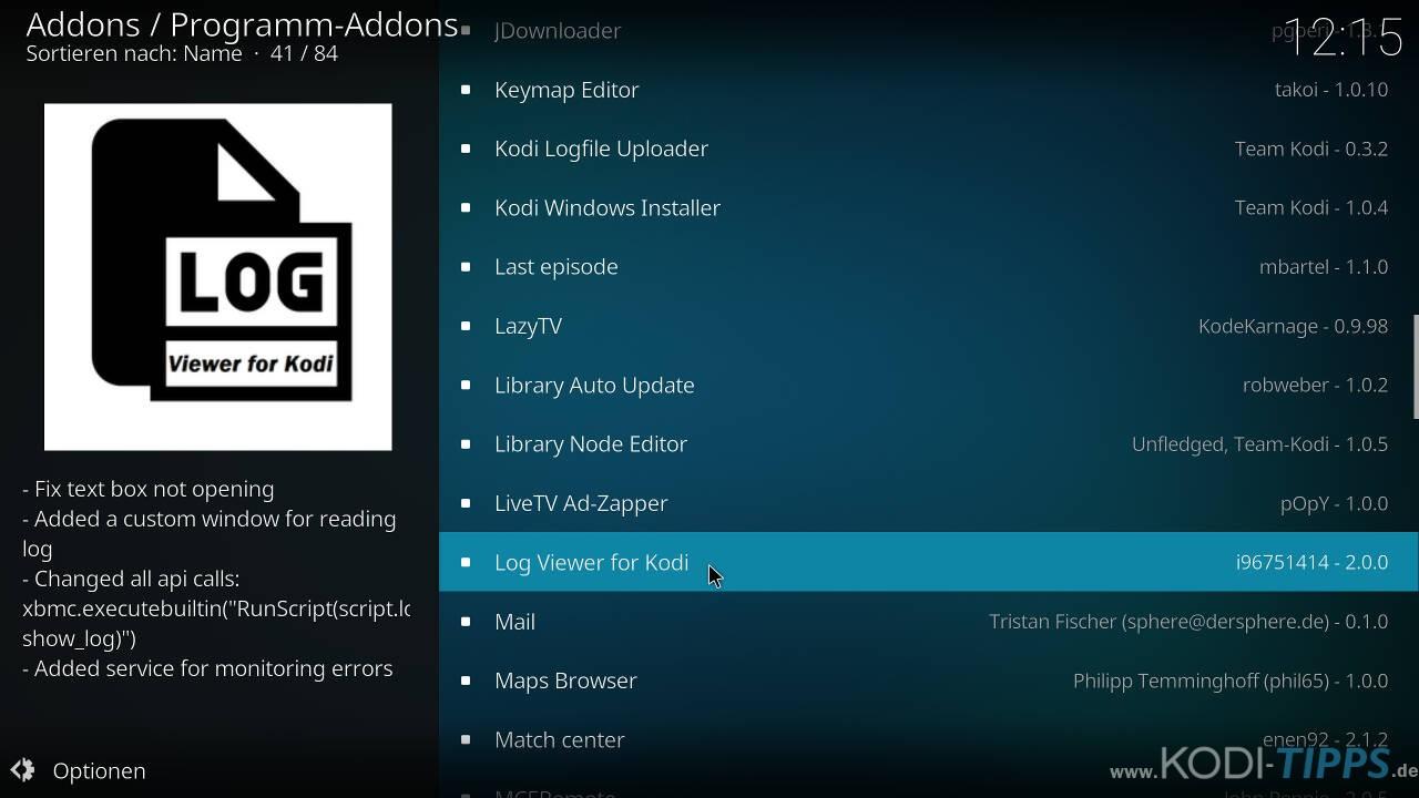 """Logdateien mit dem """"Log Viewer for Kodi"""" Addon öffnen - Schritt 1"""