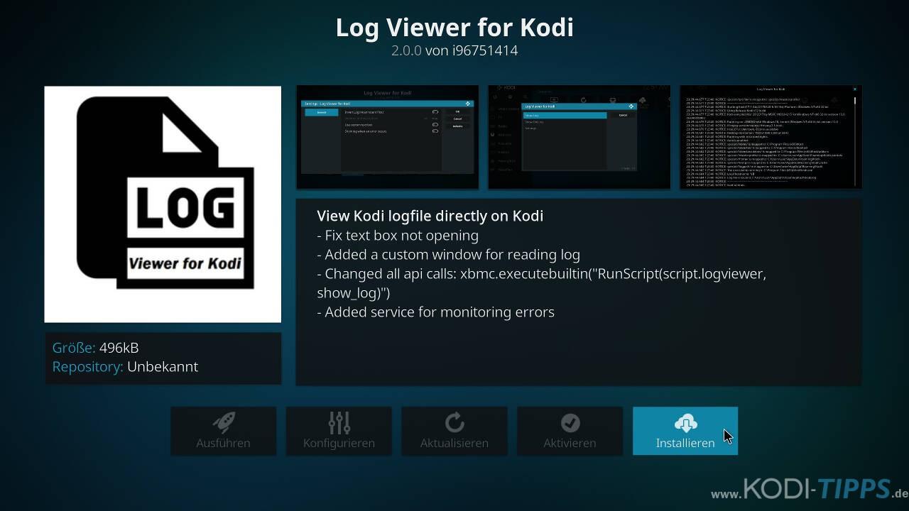 """Logdateien mit dem """"Log Viewer for Kodi"""" Addon öffnen - Schritt 2"""