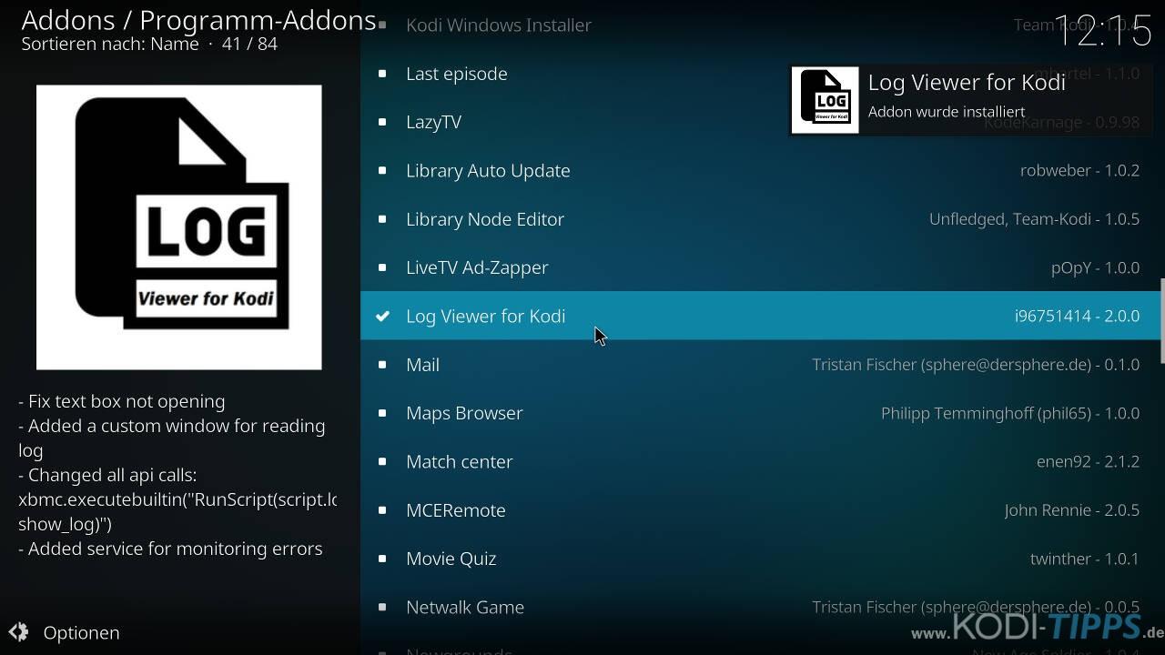 """Logdateien mit dem """"Log Viewer for Kodi"""" Addon öffnen - Schritt 3"""