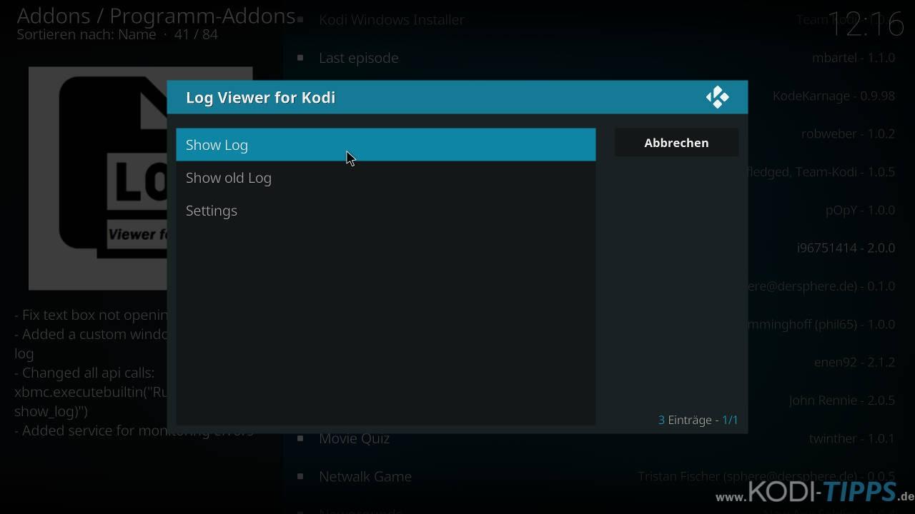 """Logdateien mit dem """"Log Viewer for Kodi"""" Addon öffnen - Schritt 4"""
